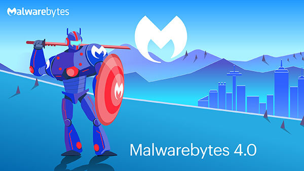 Robot holding katana and shield on a field with mountains, cityscape, and Malwarebytes logo in the background